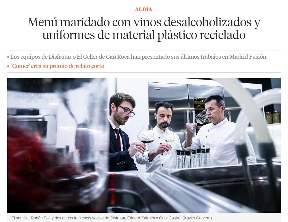 artículo sobre vino desalcoholizado con Girovap - Madrid Fusión 2021 - La Vanguardia