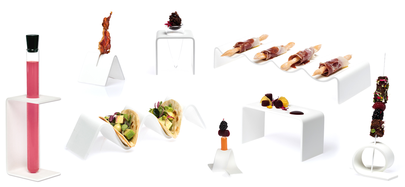 Transparent gastro tray with pipettes holder')