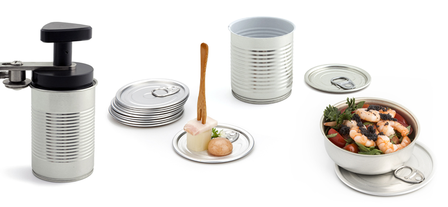 Open round tin to serve individual tastings.')