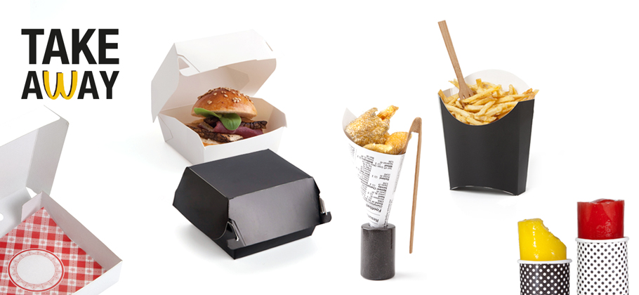 White Delica tray with disposable material from the Take Away collection')