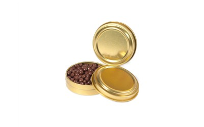 Boites imitation caviar couleur or
