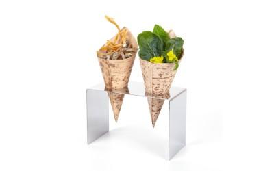 Display aus Inox Edelstahl für 2 Snacktüten