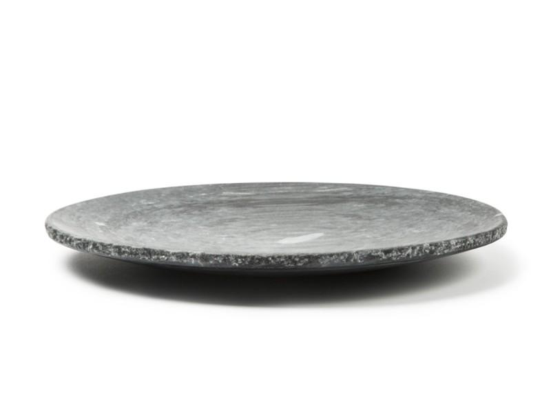 Schwarzer Marmor Teller Ø25 cm Rustikal Rand