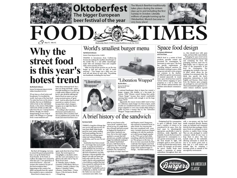 "Waxed Paper ""food Times"" 